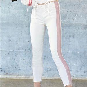 MOTHER looker side stripe ankle skinny jeans sz 25